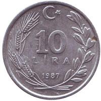 Монета 10 лир. 1987 год, Турция.