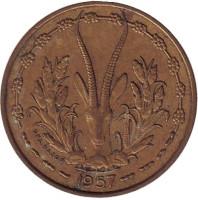 Газель. Монета 10 франков. 1957 год, Того (Французская Западная Африка).
