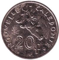 Быки. Монета 20 франков. 2000 год, Новая Каледония.