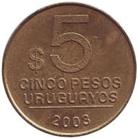 Монета 5 песо. 2003 год, Уругвай.
