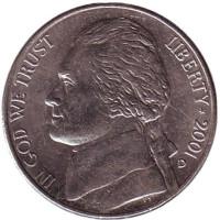 Джефферсон. Монтичелло. Монета 5 центов. 2001 год (D), США.
