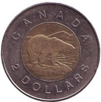 Полярный медведь. Монета 2 доллара, 2006 год, Канада. (Старый тип)