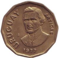 Хосе Артигас. Монета 1 новый песо. 1977 год, Уругвай.