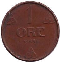 Монета 1 эре. 1951 год, Норвегия.