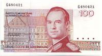 Банкнота 100 франков. 1980 год, Люксембург.