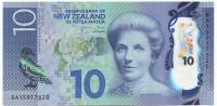 Кейт Шеппард. Синяя утка. Банкнота 10 долларов. 2015 год, Новая Зеландия.