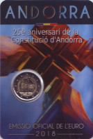 25-летие Конституции Андорры. Монета 2 евро. 2018 год, Андорра.