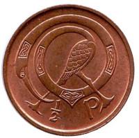 Птица. Ирландская арфа. Монета 1/2 пенни. 1975 год, Ирландия. aUNC.
