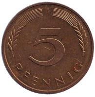 Дубовые листья. Монета 5 пфеннигов. 1982 год (J), ФРГ.