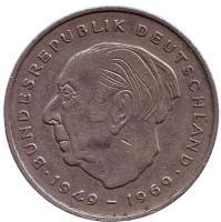 Теодор Хойс. Монета 2 марки. 1970 год (G), ФРГ.