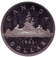 Индейцы в каноэ. Монета 1 доллар. 1983 год, Канада. Proof.