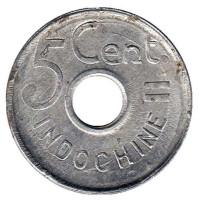 Монета 5 центов. 1943 год, Французский Индокитай. Из обращения.
