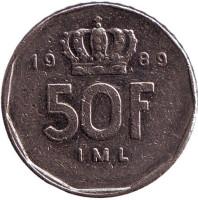 Монета 50 франков. 1989 год, Люксембург. (Старый тип)