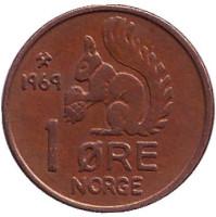 Белка. Монета 1 эре. 1969 год, Норвегия.