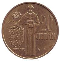 Монета 20 сантимов. 1978 год, Монако. Редкая! Из обращения.