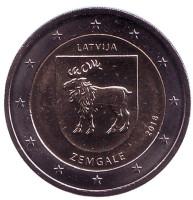 Земгале. Исторические области Латвии. Монета 2 евро. 2018 год, Латвия.