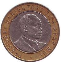 Джомо Кениата - первый президент Кении. Монета 10 шиллингов. 1995 год, Кения.