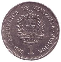 Монета 1 боливар. 1989 год, Венесуэла. (Мелкий шрифт)