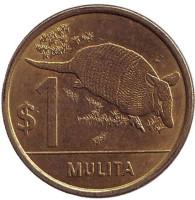 Броненосец. Монета 1 песо. 2012 год, Уругвай. Из обращения.