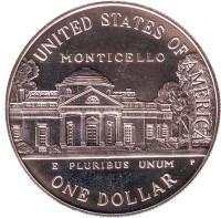 250 лет со дня рождения Томаса Джефферсона. Монета 1 доллар. 1993 год (P), США.