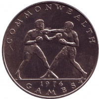 Бокс. Х Игры Содружества. Монета 1 тала. 1974 год, Самоа.