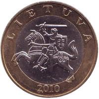 Рыцарь. Монета 2 лита. 2010 год, Литва. Из обращения.
