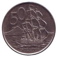 "Парусник ""Endeavour"". Монета 50 центов. 2006 год, Новая Зеландия. Новый тип."