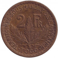 Монета 2 франка. 1924 год, Того.