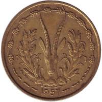 Газель. Монета 25 франков. 1957 год, Того (Французская Западная Африка).