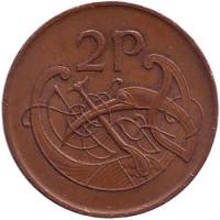 Птица. Ирландская арфа. Монета 2 пенса. 1988 год, Ирландия.