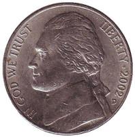 Джефферсон. Монтичелло. Монета 5 центов. 2002 год (D), США.