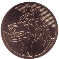Год собаки. Лунный календарь. Сувенирный жетон, СПМД, Россия.