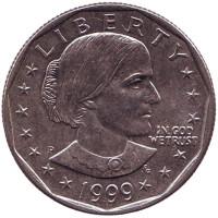 Сьюзен Энтони. Монета 1 доллар, 1999 год, США. Монетный двор P.