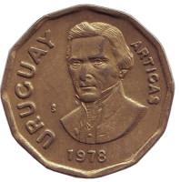 Хосе Артигас. Монета 1 новый песо. 1978 год, Уругвай.