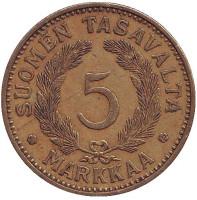 Монета 5 марок. 1936 год, Финляндия.