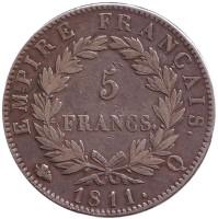 Император Наполеон I. Монета 5 франков. 1811 год, Франция.