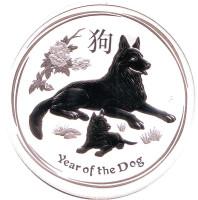 Год собаки. Китайский гороскоп. Монета 1 доллар. 2018 год, Австралия.