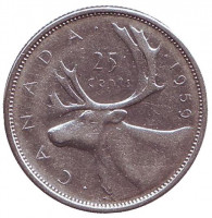 Канадский олень (Карибу). Монета 25 центов. 1959 год, Канада.