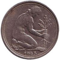 Женщина, сажающая дуб. Монета 50 пфеннигов. 1985 год (G), ФРГ.