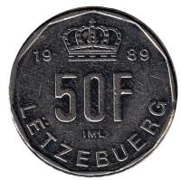Монета 50 франков. 1989 год, Люксембург. (Новый тип)