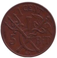 Монета 1 цент. (5 бит). 1913 год, Датская Вест-Индия.