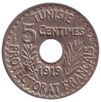 Монета 5 сантимов. 1919 год, Тунис. (протекторат Франции).
