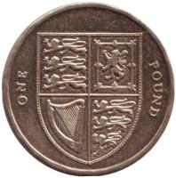 Королевский Щит. Монета 1 фунт. 2008 год, Великобритания.