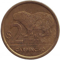 Водосвинка (капибара). Монета 2 песо. 2011 год, Уругвай. Из обращения.