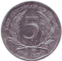 Монета 5 центов. 2008 год, Восточно-Карибские государства.