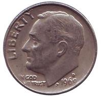 Рузвельт. Монета 10 центов. 1969 (D) год, США.