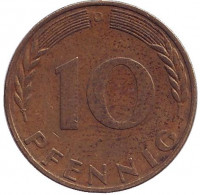 Дубовые листья. Монета 10 пфеннигов. 1970 год (D), ФРГ.