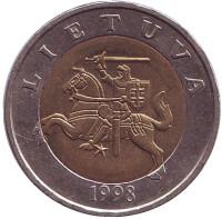 Рыцарь. Монета 5 литов, 1998 год, Литва. Из обращения.