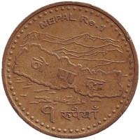 Монета 1 рупия. 2007 год, Непал. Из обращения.