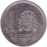 Монета 1 песета. 1985 год, Испания.